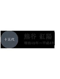 十三代 熊谷 九八郎 安政3年~大正12年