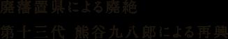 廃藩置県による廃絶 第十三代 熊谷九八郎による再興